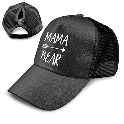 ce87df4f5a4 Image Unavailable. Image not available for. Color  Kfrfa Mama Bear Trend Glitter  Baseball Cap for Women s High Ponytail Messy Bun Trucker Hat