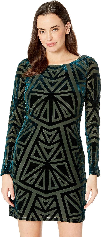 Dark Green Vince Camuto Womens Burnout Velvet Long Sleeve Tee Dress