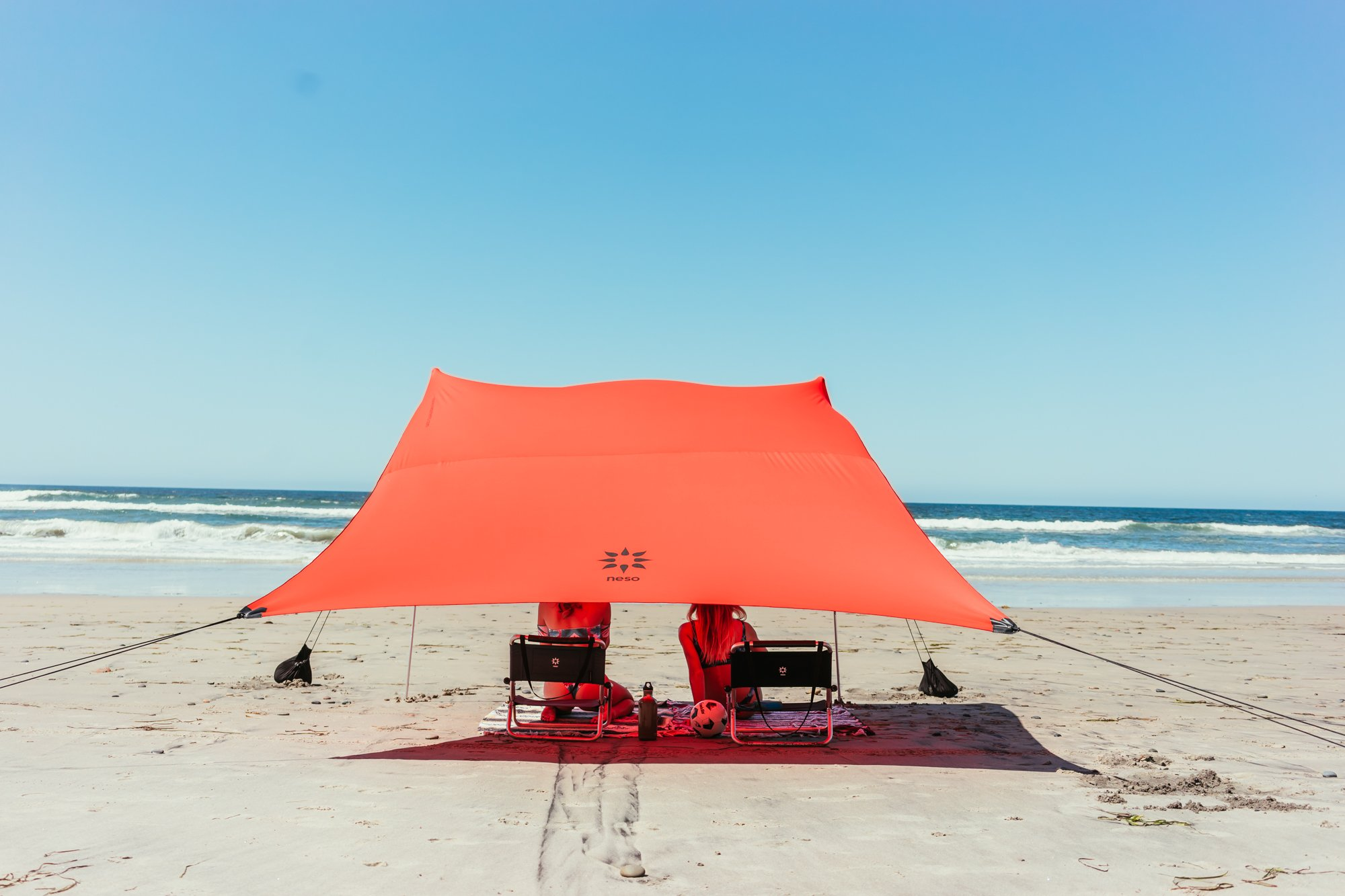Neso Tents Grande Beach Tent, 7ft Tall, 9 x 9ft, Reinforced Corners and Cooler Pocket(Lehua Red) by Neso