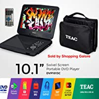"""10"""" Swivel Screen Portable DVD Player TEAC Model DVP1013C Easy entertainment on the go Enjoy your favourite DVD shows and movies on the go! Equipped with carry bag and an 180 degree swivel screen, the DVP1013 is your perfect travel companion. In addition, the model plays photos, video files and music. CDs can be copied to a USB stick as MP3 files. It features a rechargeable battery, DC adaptor and an in-car charger for added convenience. Video output lets you connect to your TV when at home."""