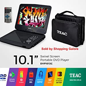 "TEAC 10.1"" Portable DVD Player   Swivel Screen   Carry Bag w Car Adaptor   Earphones INC.   USB, SD, MMC Playback  Plus Remote"