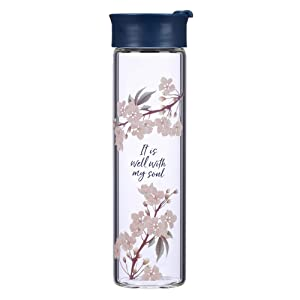 Reusable Glass Water Bottle – Christian Water Bottle for Women & Men Inspirational Water Bottle for Everyday Use (BPA Free 20oz Wide Mouth Water Bottle)