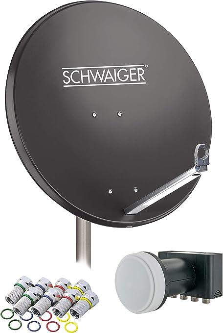 SCHWAIGER -548- Sistema de satélites | antena satelital con LNB cuádruple (digital) y 8 conectores F de 7 mm | antena satelital de aluminio | ...