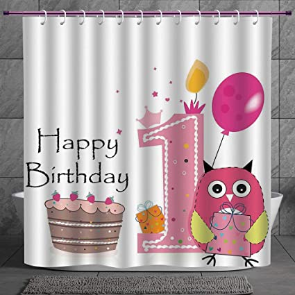 Decorative Shower Curtain 20 1st Birthday DecorationsFirst Cake Candle Sketchy Cartoon Owl
