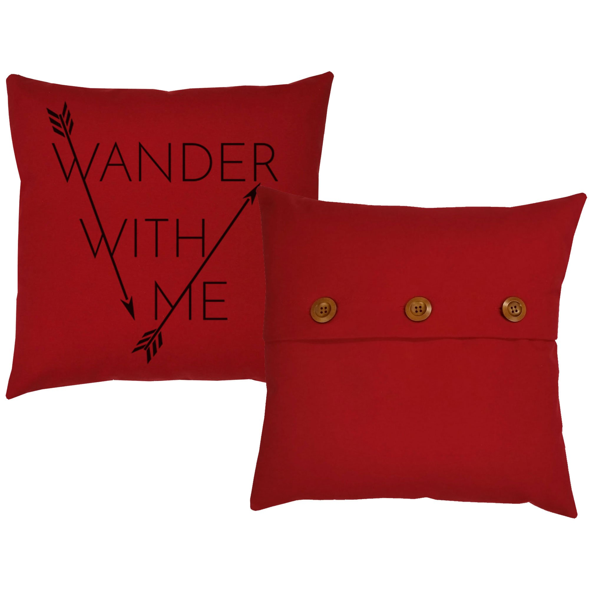 Set of 2 RoomCraft Wander With Me Through the Woods Throw Pillows 20x20 Square Red Indoor-Outdoor Cushions by RoomCraft (Image #4)