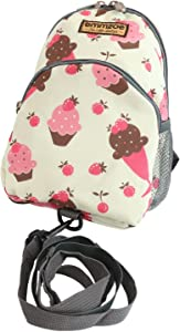 Emmzoe Little Walker Toddler Backpack with Detachable Safety Harness Leash - Lightweight Fits Snacks, Food, Toys (Cream Ice Cakes)