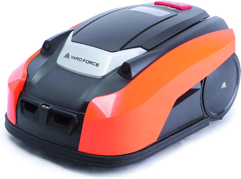 YARD FORCE Robot cortacésped X100i con tecnología de Sensor ultrasónico de Seguridad Activa para césped de hasta 1000m Control, 28 V, negro/naranja, 1000 m² - smarte App Steuerung