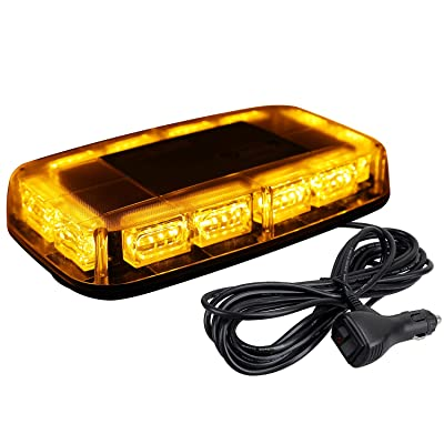 [Upgraded 5] ASPL 48LED Roof Top Strobe Lights, High Visibility Emergency Safety Warning LED Mini Strobe Light bar with Magnetic Base for 12-24V Snow Plow, Trucks, Construction Vehicles (Amber): Automotive