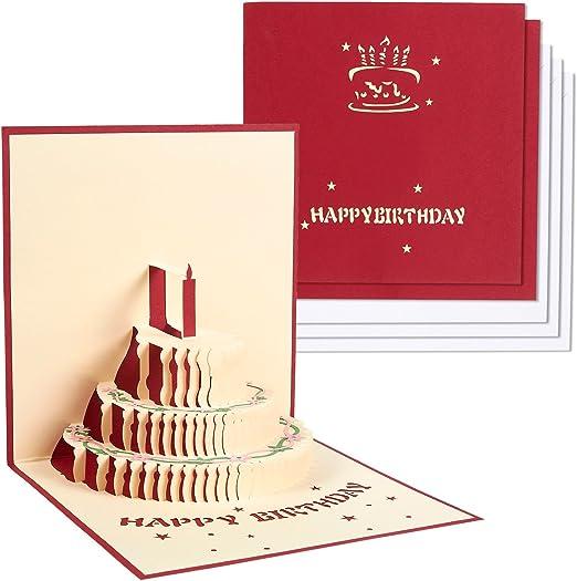3 Pack 3d tarjetas de cumpleaños – Juego de 3 Colorful 3d tarta de cumpleaños caja y