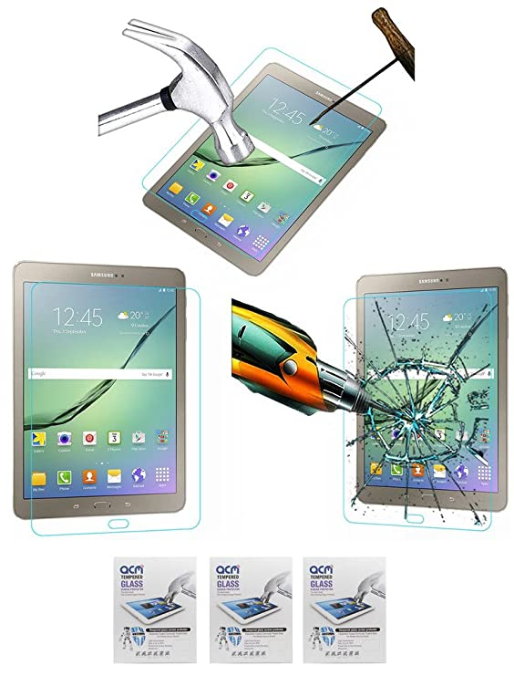 ACM Pack of 3 Tempered Glass Screenguard for Samsung Galaxy Tab S2 9.7 T815 Tablet Screen Guard Scratch Protector Tablet Accessories
