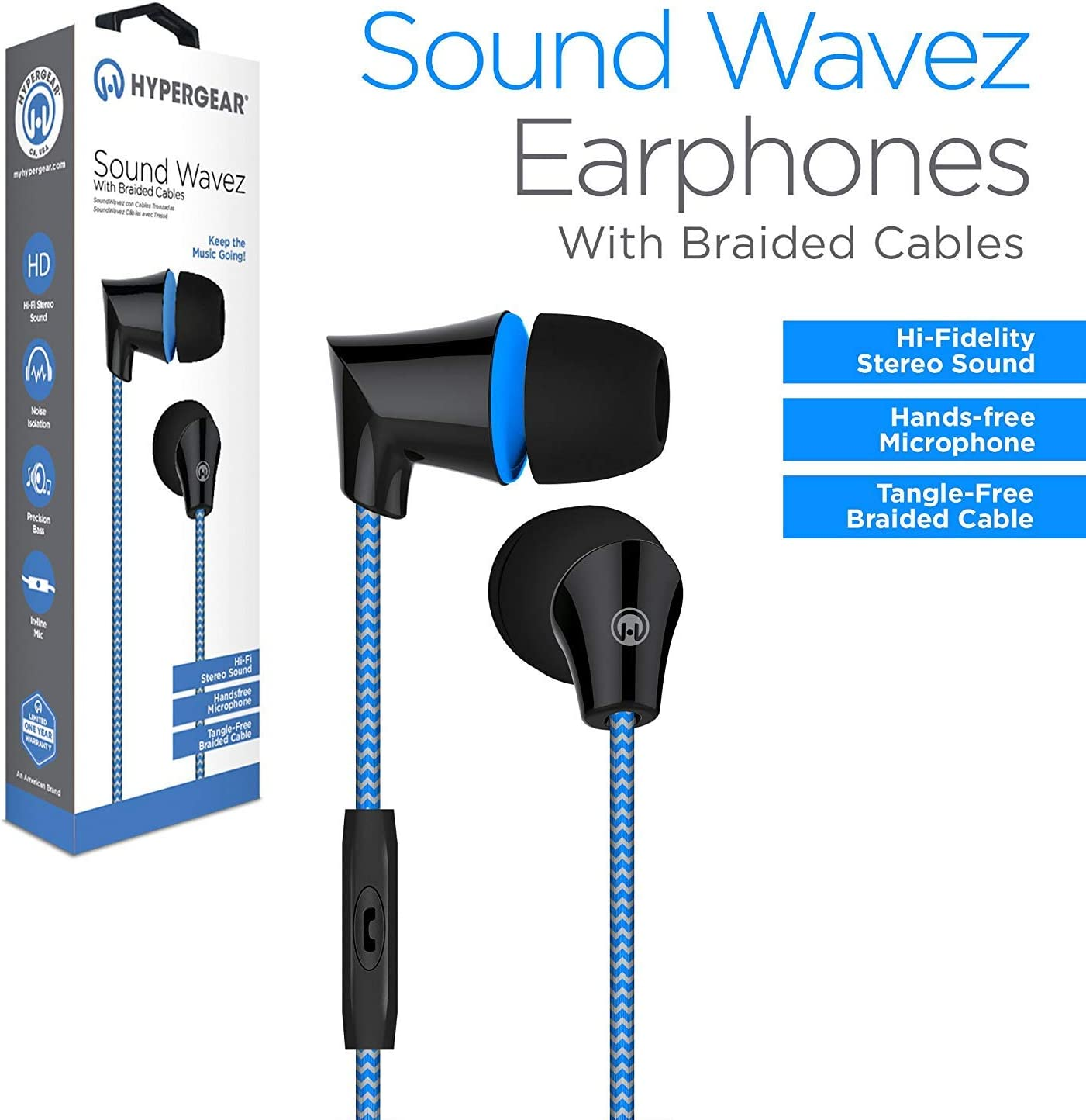 Black in-line Microphone Comfort-fit Ear Gels Blocks Out Noise /& Seal in Sound Tangle-Free Braided Cable,10mm Neodymium /& Precision Bass Hands-Free Calls /& Music Hypergear Sound Wavez Earphones