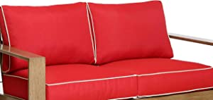 Creative Living Patio Furniture Red-2Cushion All-Weather Outdoor Deep Seat Loveseat Cushions, Red