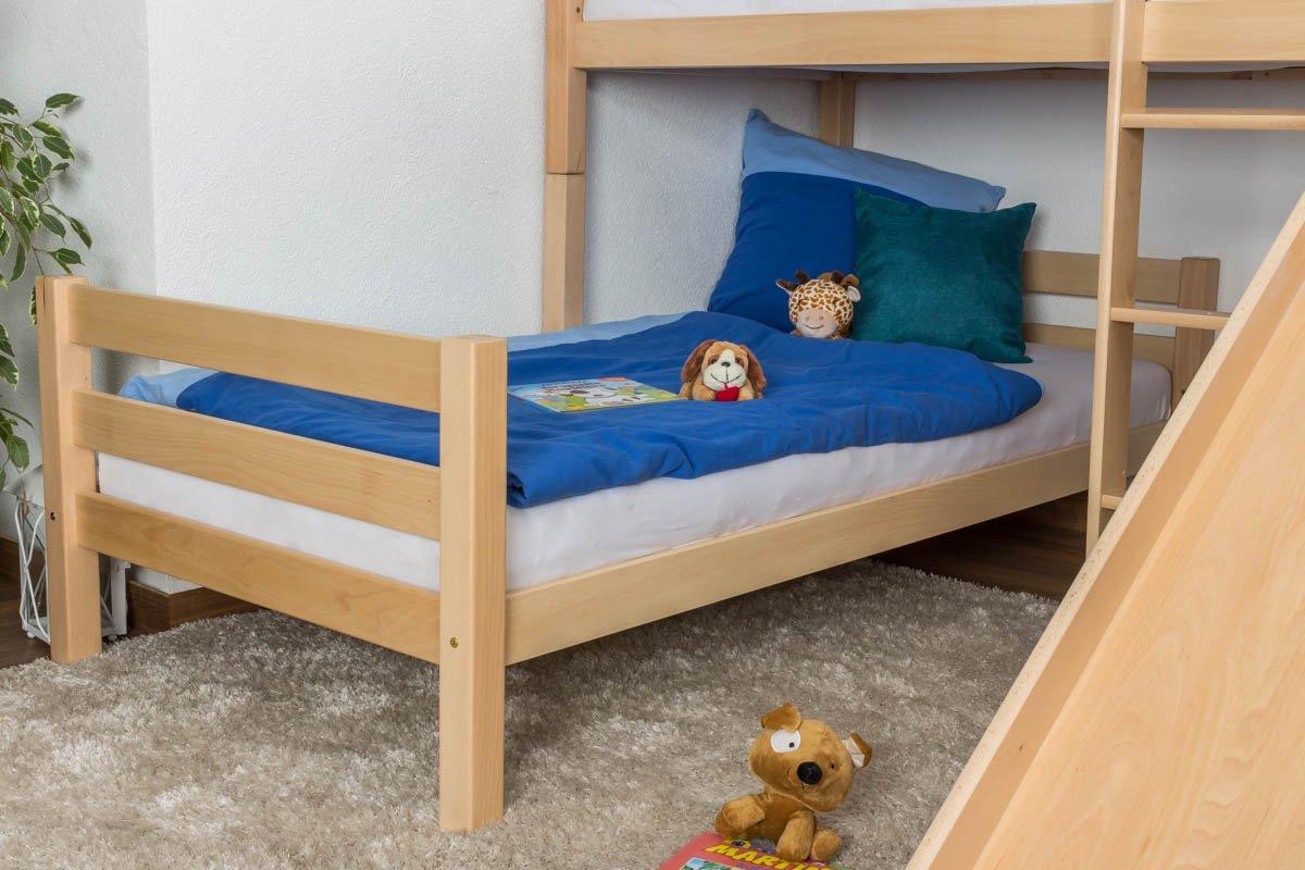 Kinderbett Etagenbett Moritz L Buche Vollholz massiv natur und mit Regal und natur Rutsche, inkl. Rollrost - 90 x 200 cm, teilbar 0af0fb
