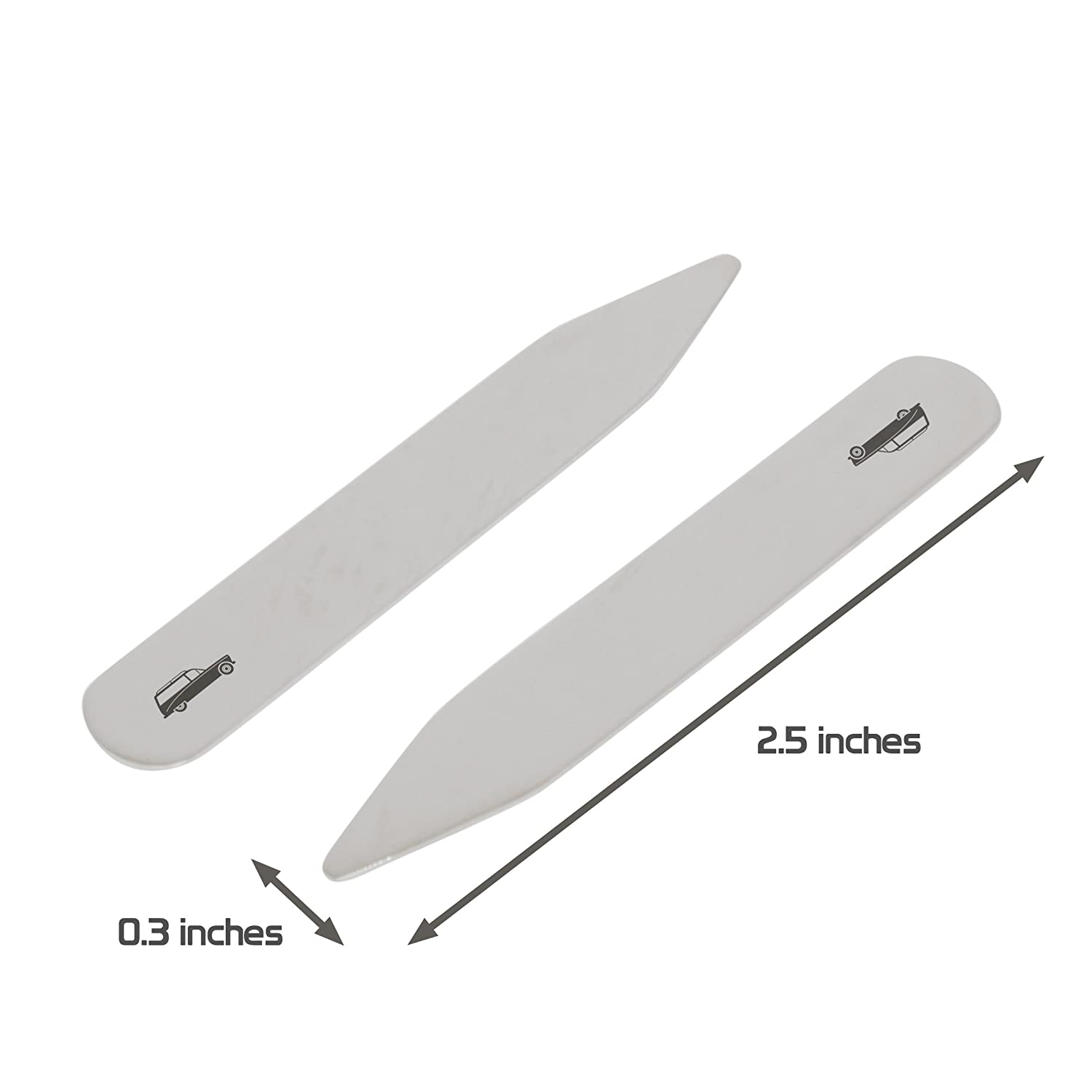 MODERN GOODS SHOP Stainless Steel Collar Stays With Laser Engraved Hearse Design Made In USA 2.5 Inch Metal Collar Stiffeners