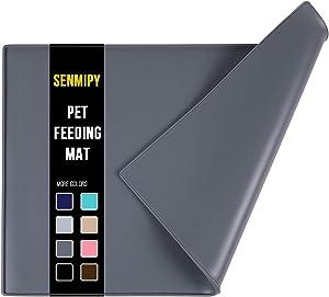 Senmipy Silicone Dog Food Mat - Waterproof Dog Bowl Mats for Food and Water Bowls, Raised Edges Non-Slip Cat Food Mat, BPA Free Pet Mats for Dog Bowls (Large, Gray)