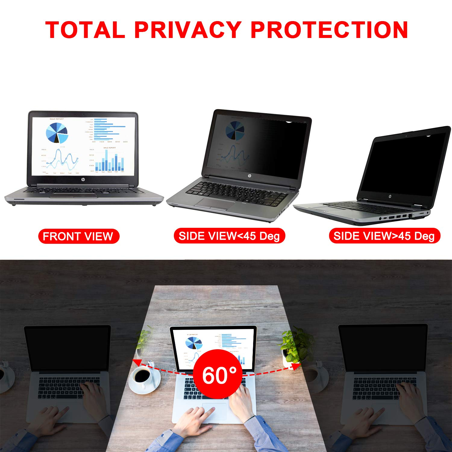 Magicmoon Privacy Filter Screen Protector, Anti-Spy&Glare Film for 14 inch Widescreen Notebook Laptop (14'', 16:9 Aspect Ratio) by Magicmoon (Image #3)