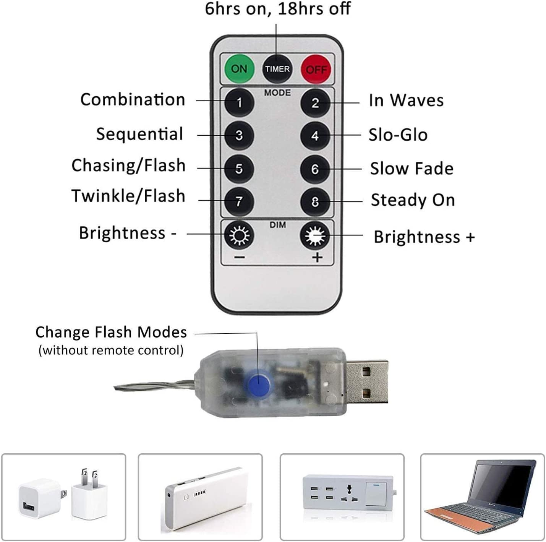 LED Firework Luci Stringa USB Plug moderno Bianco caldo
