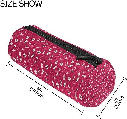 Malpleda - Estuche redondo para bolígrafos, diseño de rosas, color rojo: Amazon.es: Oficina y papelería