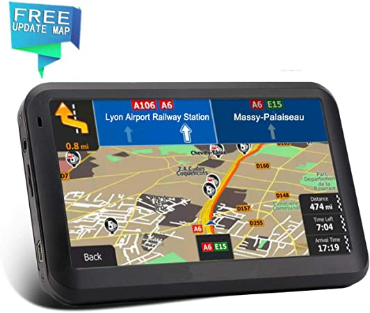 GPS Navigation car, 2019 Upgraded Version 7 inch HD Capacitive Touch Screen GPS Navigation System with 8G Memory, Attach Sunshade,Free Lifetime Maps