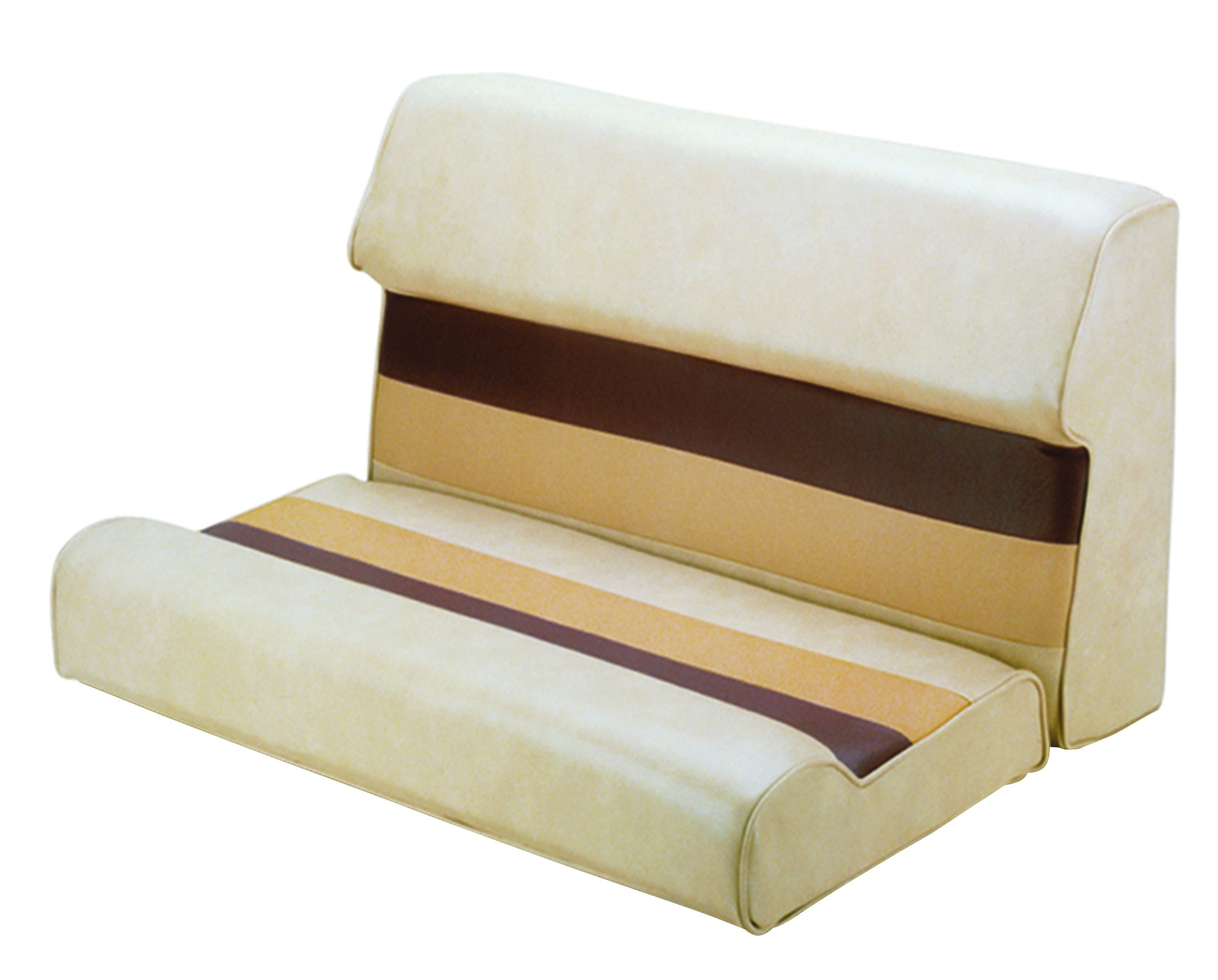 Wise 28-Inch Cushion Only Pontoon Bench Seat, Sand/Chestnut/Gold