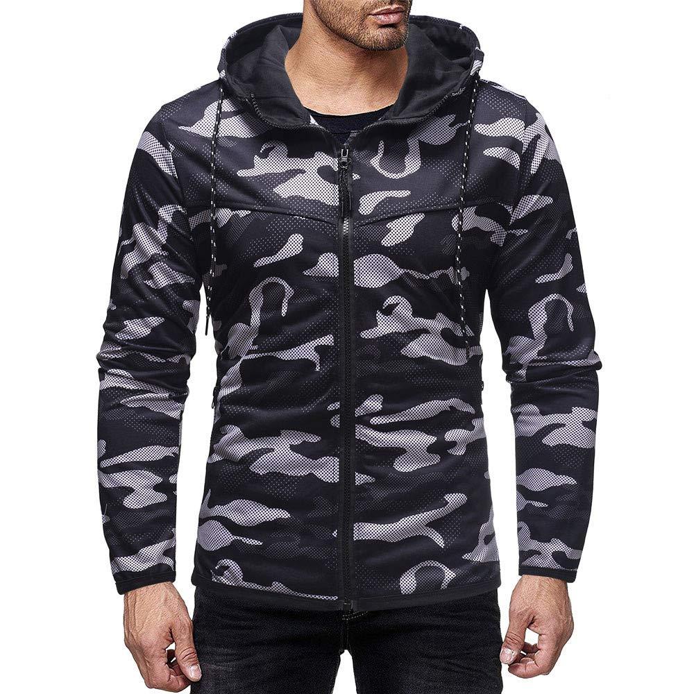 Men Hoodie Full Zip Up Long Sleeve Sleeveless Camouflage Sports Sweatshirt Top
