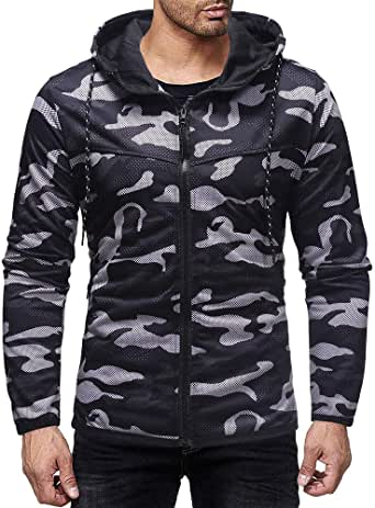 CYJ-shiba Mens Hoodies Autumn Long Sleeve Solid Hooded Pullover Sportwear Tops Blouse with Pockets