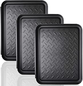 Boot Tray - 3 PCS Heavy Duty Shoe Mat Trays, Dog Bowl or Cat Bowl Mats Trap Mud, Water and Pet Food Mess to Protect Floors (13.75