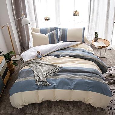 Merryfeel 100% Cotton Yarn Dyed Duvet Cover Set - Full/Queen Blue
