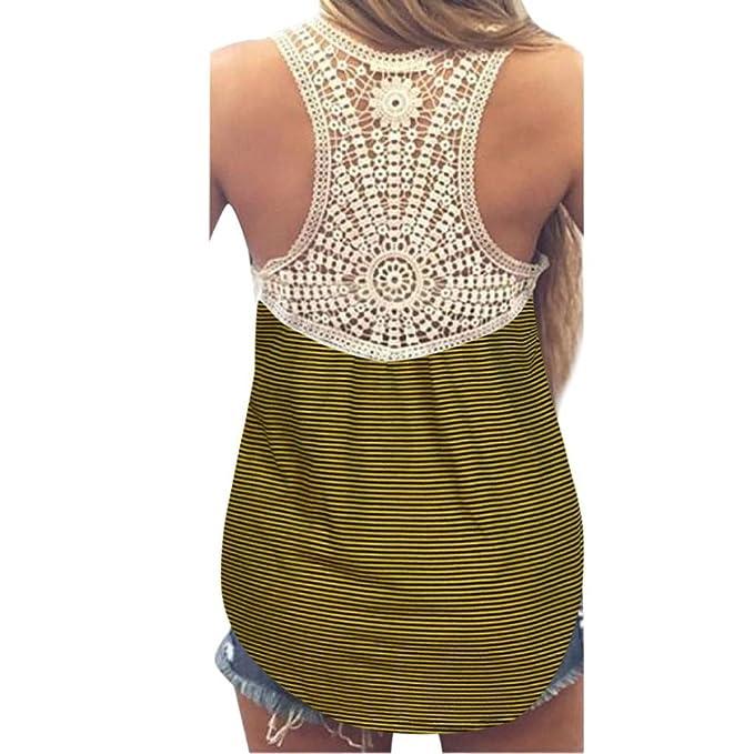 Chaleco de mujer encaje verano de las Top blusa sin mangas Casual Tank Tops