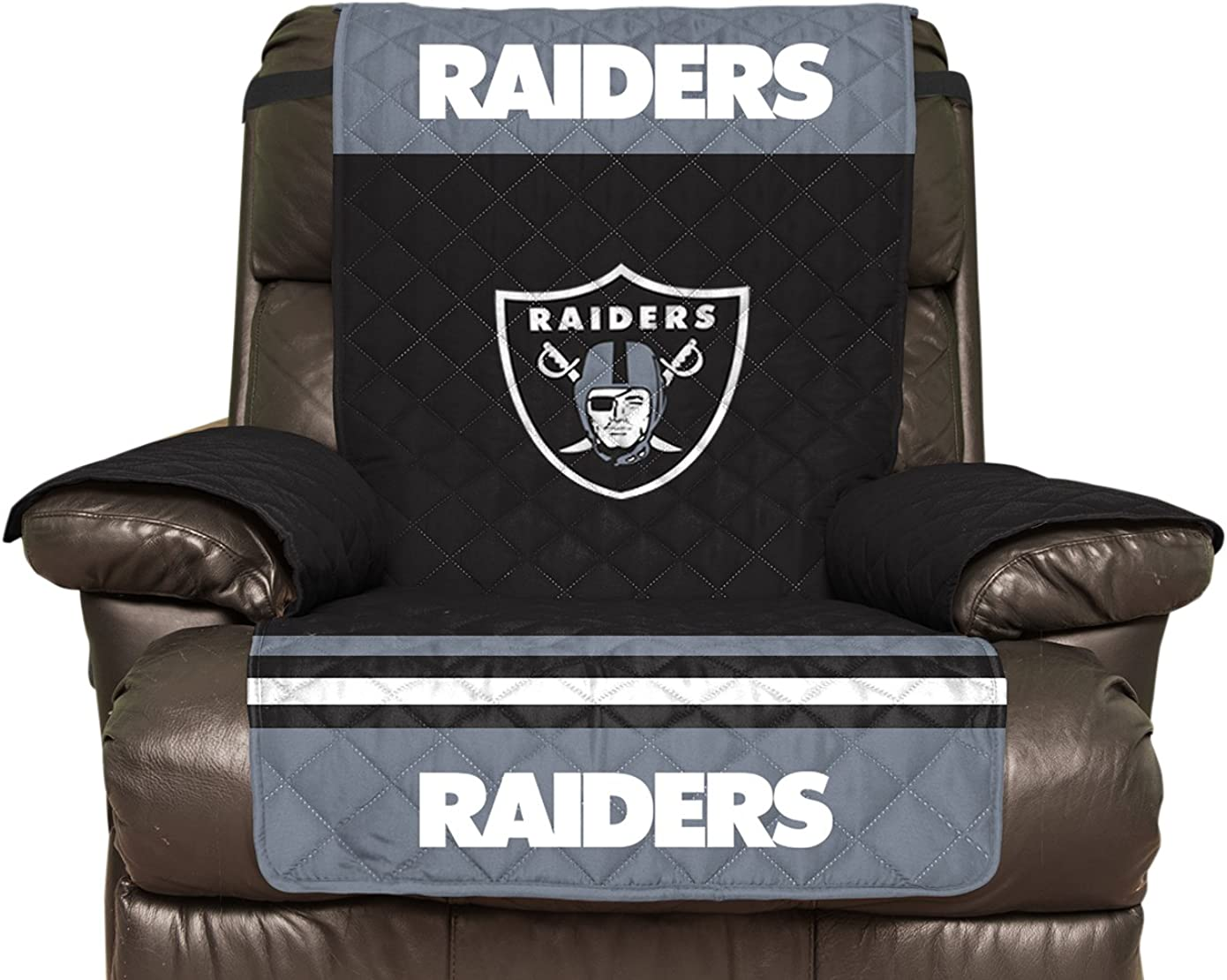 NFL Oakland Raiders Recliner Reversible Furniture Protector with Elastic Straps, 80-inches by 65-inches