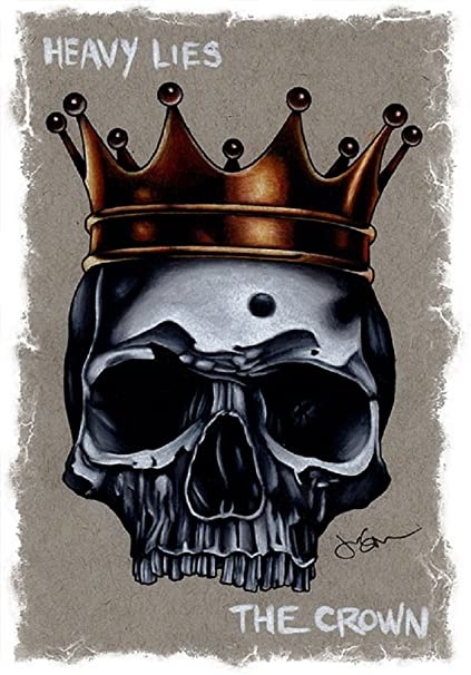 2d6acdc139d2c Amazon.com: Heavy Lies The Crown by Jeff Saunders Gothic King Skull ...