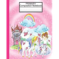 Primary Composition Notebook: Dotted Midline Notebook/Primary Composition Notebook Story Paper Journal/Cute Unicorn…