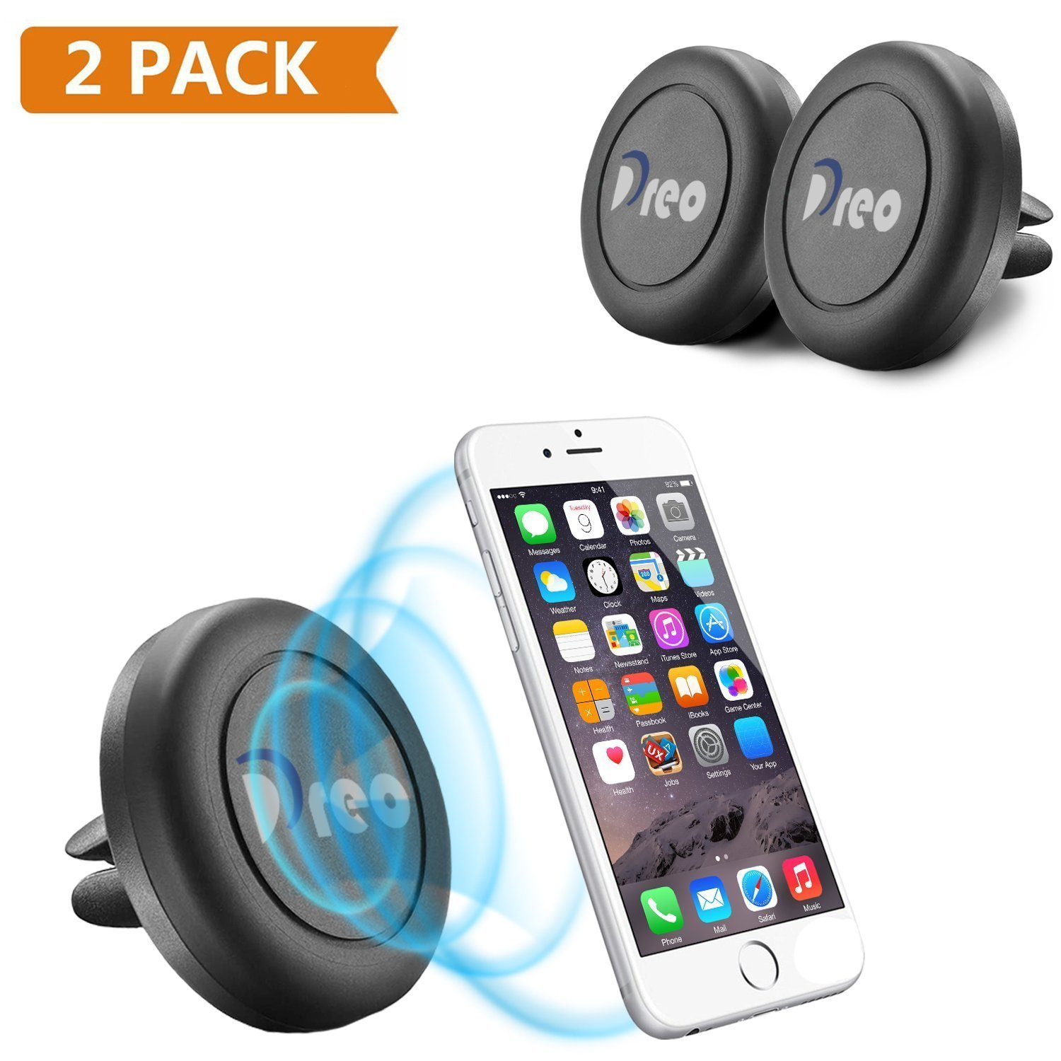 Amazon com dreo universal air vent magnetic car mount phone holder 2 pack black cell phones accessories