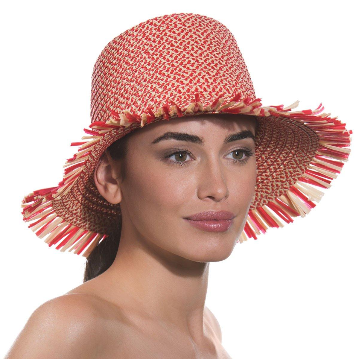Eric Javits Luxury Fashion Designer Women's Headwear Hat - Tiki Bucket - Red Mix by Eric Javits