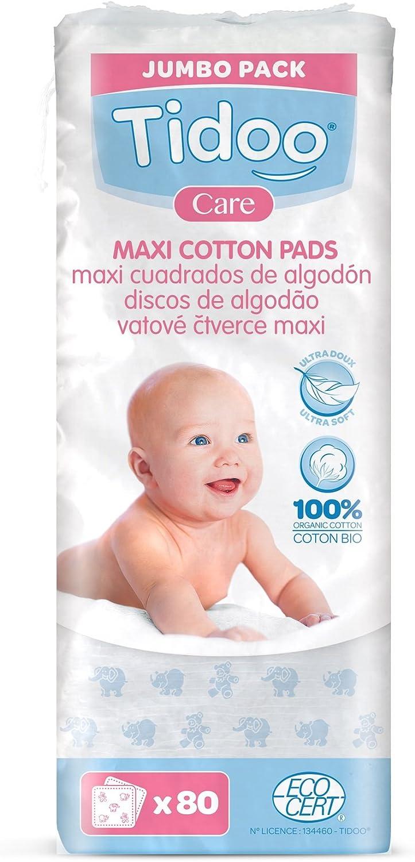TOALLITA MAXI CUADRADOS DE ALGODÓN ULTRA SUAVE 100% ECOLÓGICO (X 80 UND): Amazon.es: Belleza