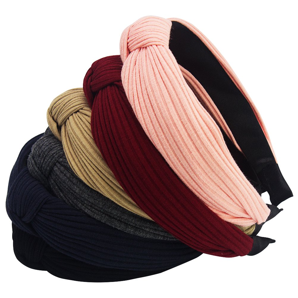 Habibee Pack of 6 Wide Plain Fashion Headbands Knot Turban Headband for Women Girls (Hairbands 6pcs) by habibee (Image #1)