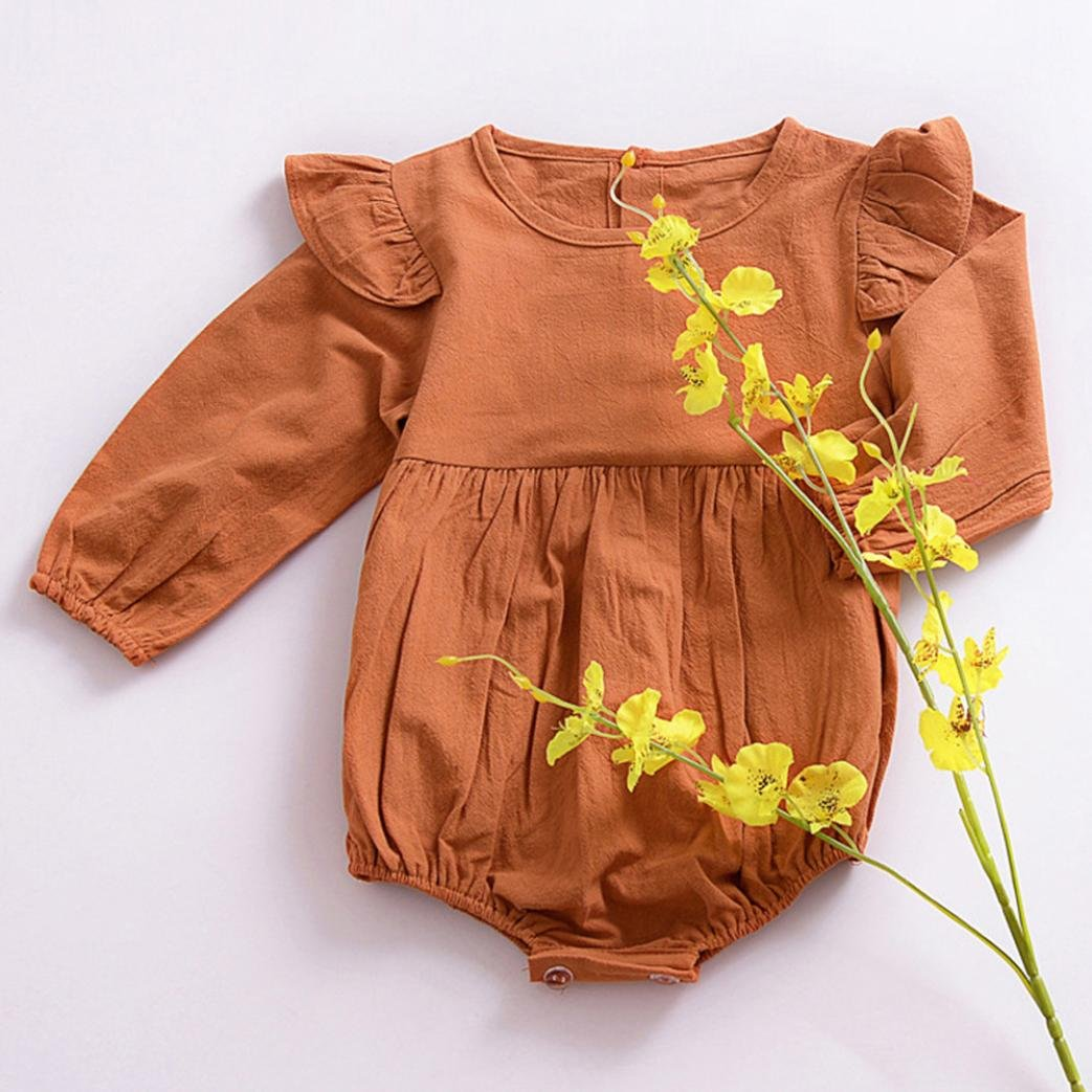 Janly Newborn Toddler Infant Baby Kid Girl Long Sleeve Solid Jumpsuit Outfits Clothes 3T, Khaki