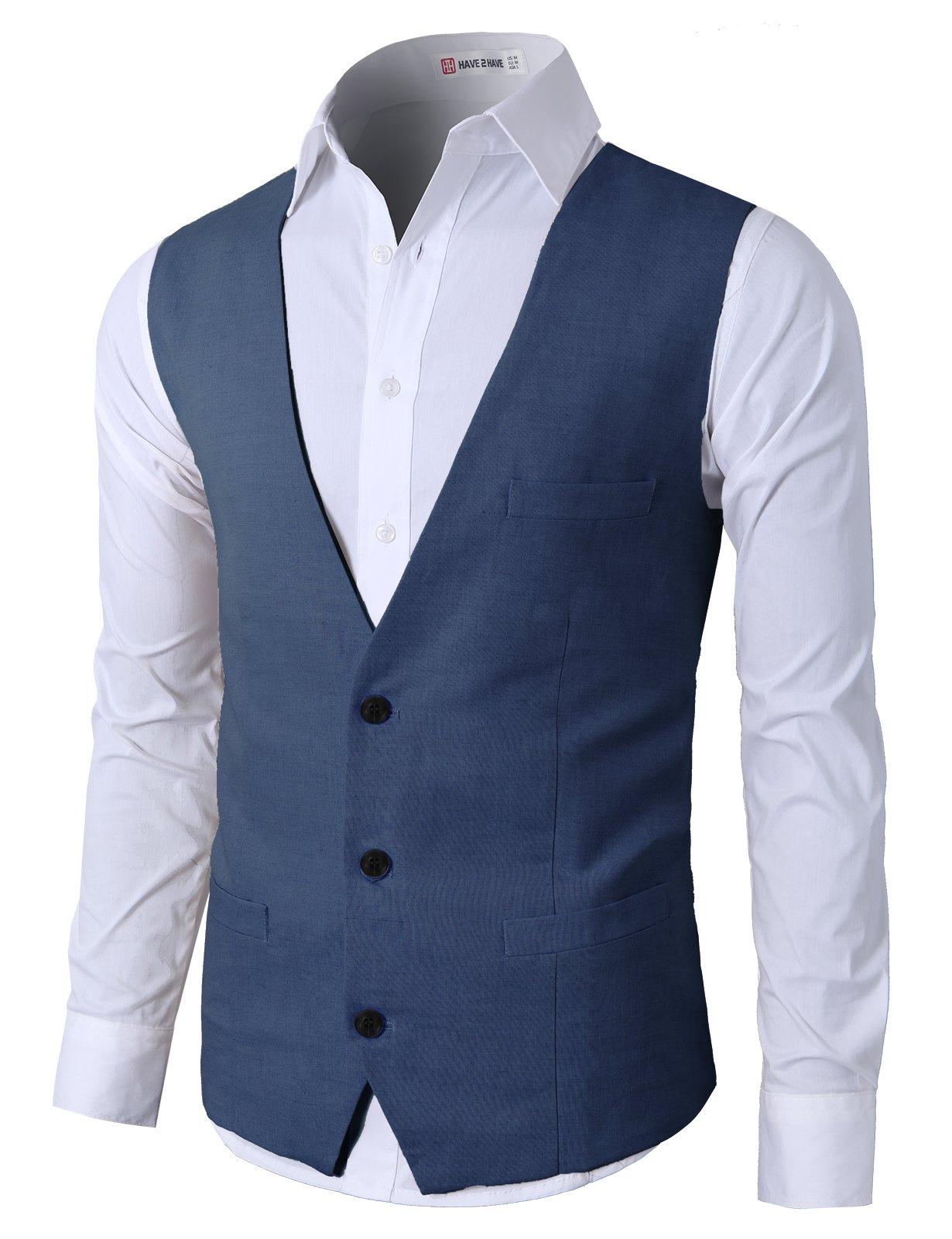 H2H Business Dandy Casual Slim Fit Stylish Suit Solid 3 Button Linen Vest Navy US L/Asia XL (CMOV039) by H2H