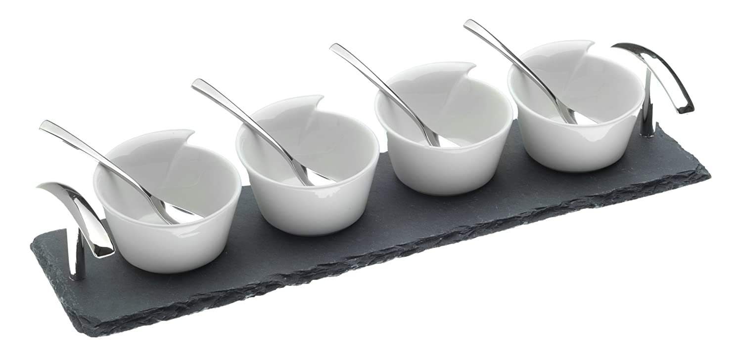 Arthur Price Ceramic Bowls and Spoons on a Slate Base, Set of 4 ZAPK2002