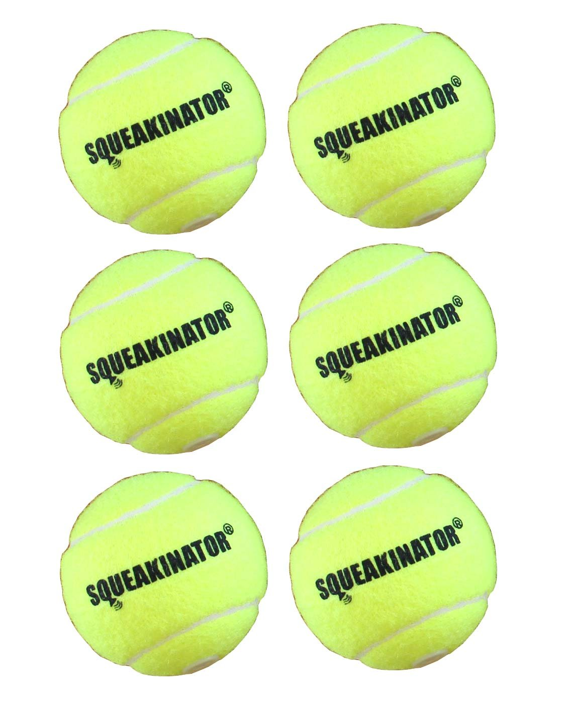 6 Pack Downtown Pet Supply SQUEAKINATOR  The Original Tennis Ball That squeaks for Dogs  Durable Dog Toy  Medium Size 2 3 4  Diameter