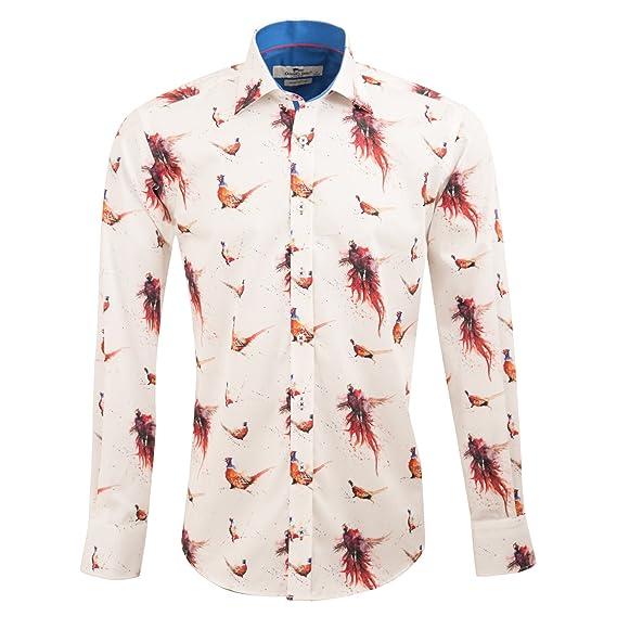 a5e0b52f99cd Claudio Lugli Pheasant Print Designer Luxury Cotton Long Sleeve Slim Fit Mens  Shirt CP6320 Medium White