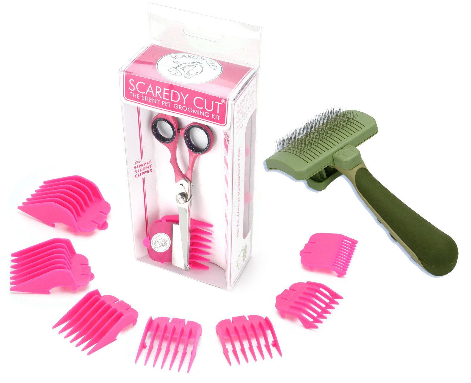 Scaredy Cut Silent Pet Clipper, PINK with Safari Self-Cleaning Cat Slicker Brush by Scaredy Cut