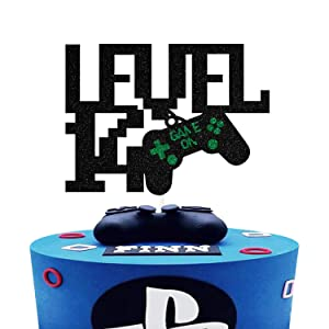 Level Up 14th Birthday Cake Topper,Sparkly Glitter Gamepad Cake Decor, Kids Gamer's 14th Birthday Cake Decor, Video Game Controller Themed Happy Birthday Party Decorations