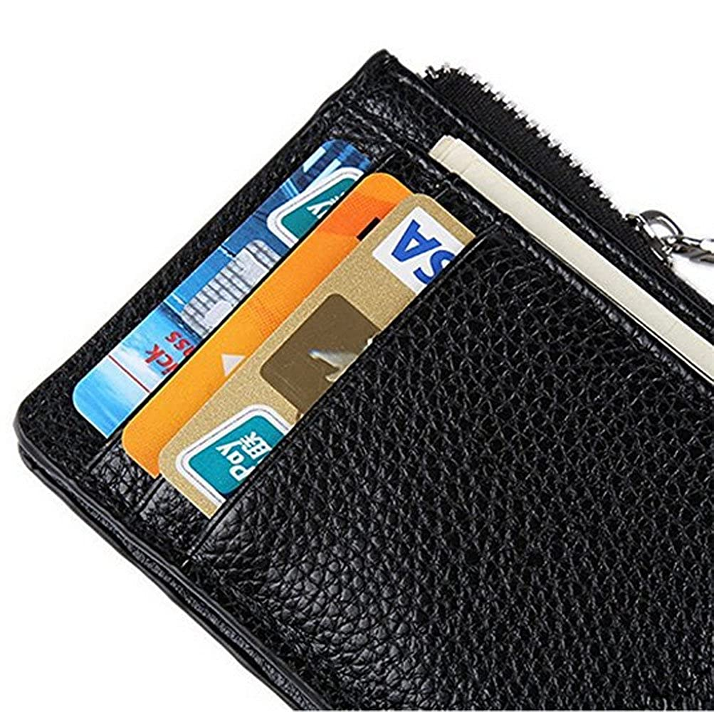 RFID Blocking Leather Slim Zipper Credit Card holder Wallet Card Case Purse