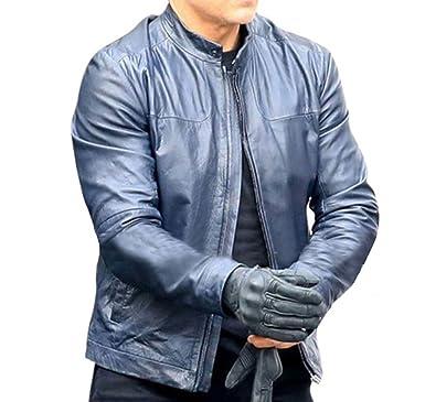 Chicago Fashions Mens Celebrity Blue Biker Mi Fallout Leather Jacket