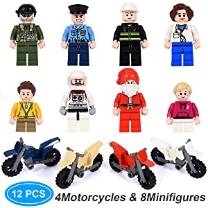 4 Motorcycle / Vehicle with 8 Army Building Blocks Play Set, Random Styles Motorcycle Occupation Military Toys Figures Party Favor Gift Fits Boys and Girls