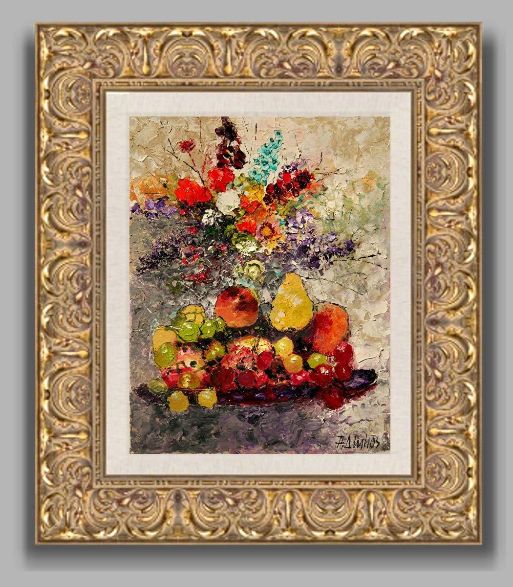 The Still Life fruit and flower still life by internationally renown painter Andre Dluhos