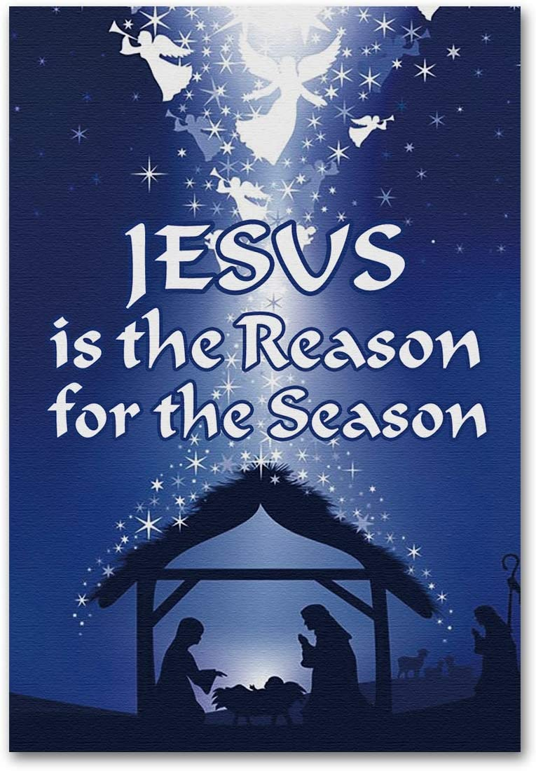 """Meltelof Blue Jesus is The Reason for The Season Garden Flag; Jesus in The Manger Garden Flag, Christmas Holidays Porch Décor, Yard Flag 12""""x18"""" Double Sided"""