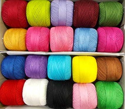 Amazon.com: Madejas Lacey Craft algodón Crochet 20 pcs hilo ...