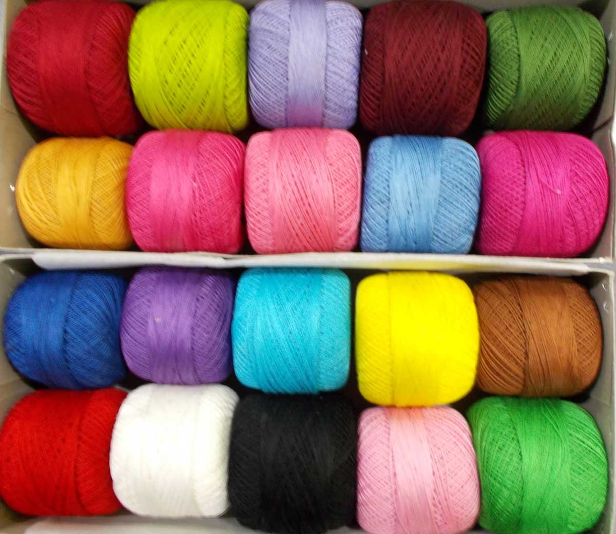 Skeins Lacey Craft Cotton Crochet 20 Pcs Yarn Cross Stitch Knitting Thread Tatting Doilies Assorted Colors